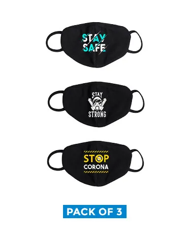 printed cotton mask pack of stay safe pack of 3