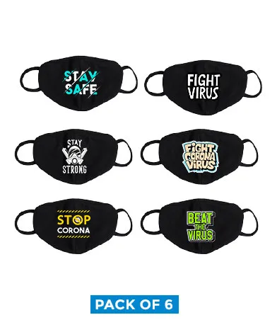 Printed cotton masks stay and fight pack of 6